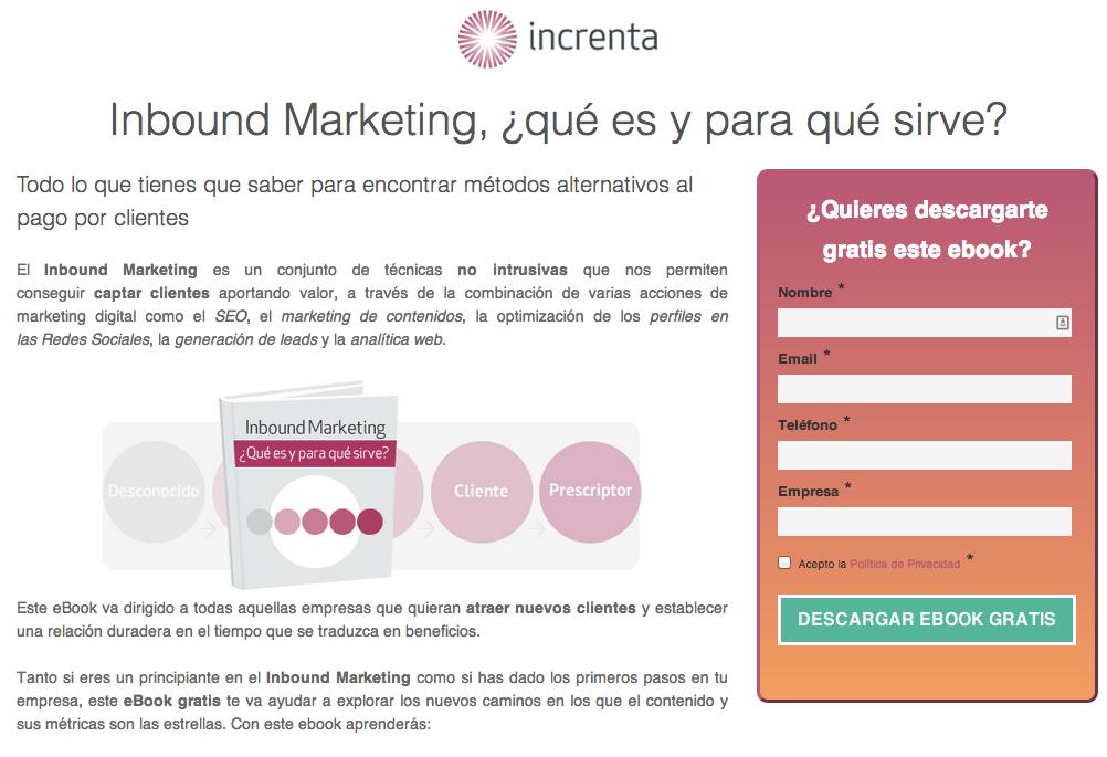 ebook GRATIS Inbound Marketing ¿qué es y para qué sirve INCRENTA