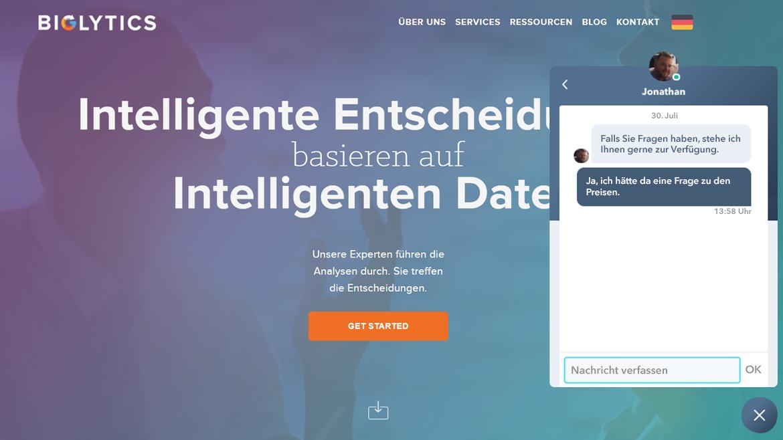 Live-Chat-Widget auf einer Website