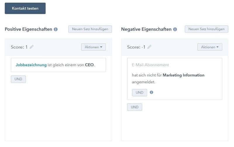 HubSpot Lead Scoring Beispiel