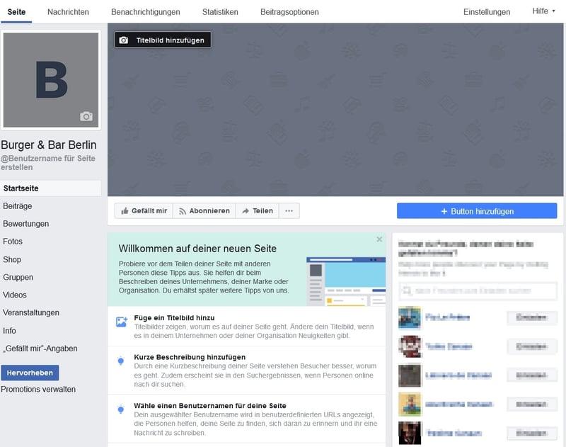 Eine neu erstellte, leere Unternehmensseite