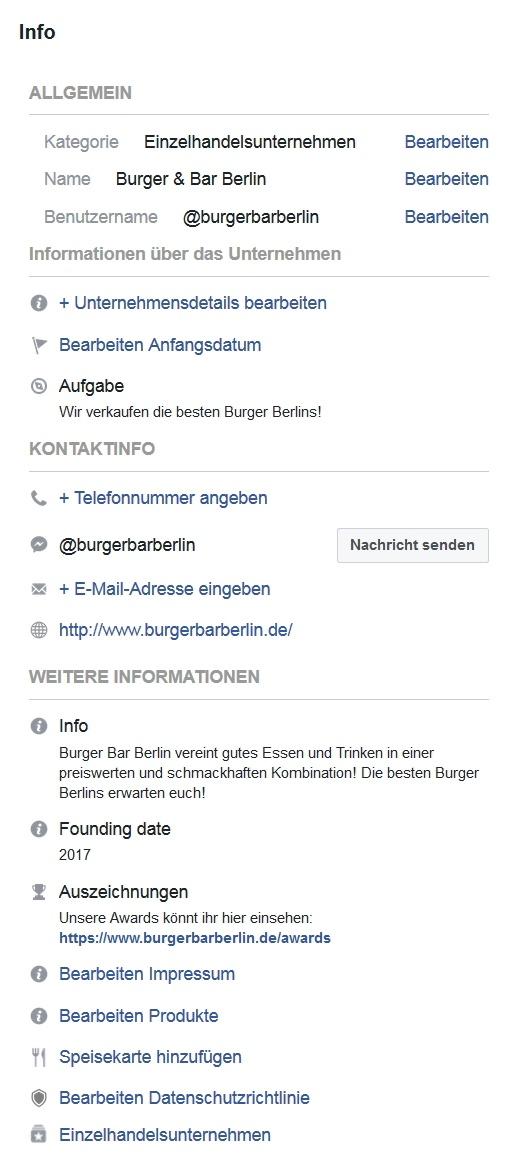 Seiteninformationen auf einer Unternehmensseite