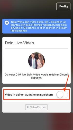 Speichern einer Livestream-Aufnahme