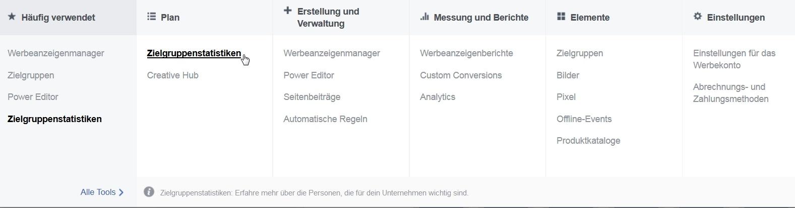 Zielgruppenstatistiken im Facebook Ad Manager