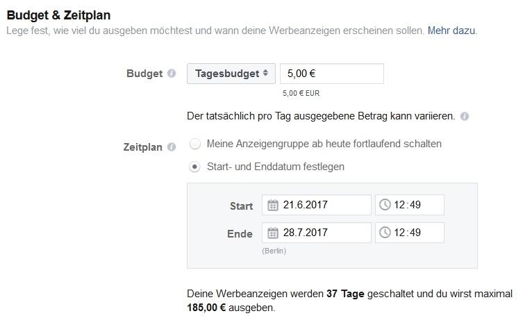 Budget und Zeitplan einer Kampagne festlegen