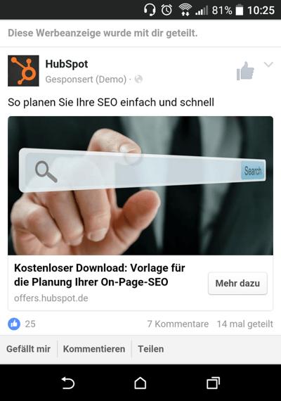 Vorschau einer Werbeanzeige auf einem Mobilgerät