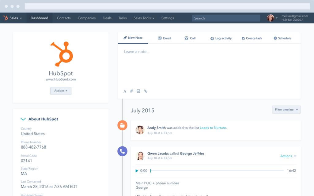 HubSpot CRM – Unternehmensdaten einsehen