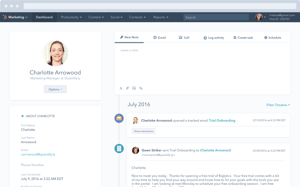 HubSpot CRM – Lead-Management – Kontaktprofil