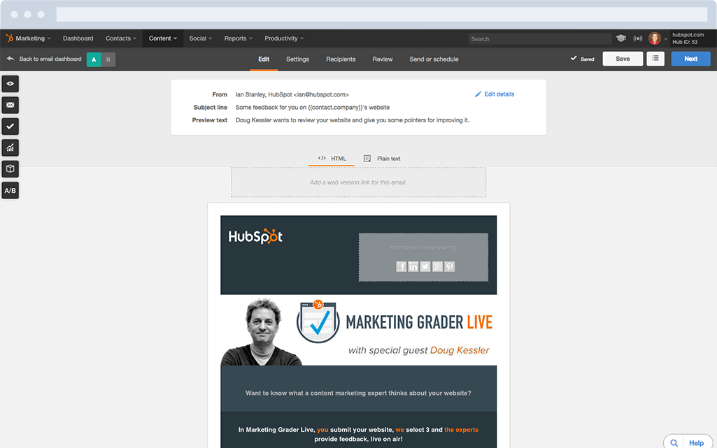 HubSpot Marketing-Software – E-Mail-Marketing