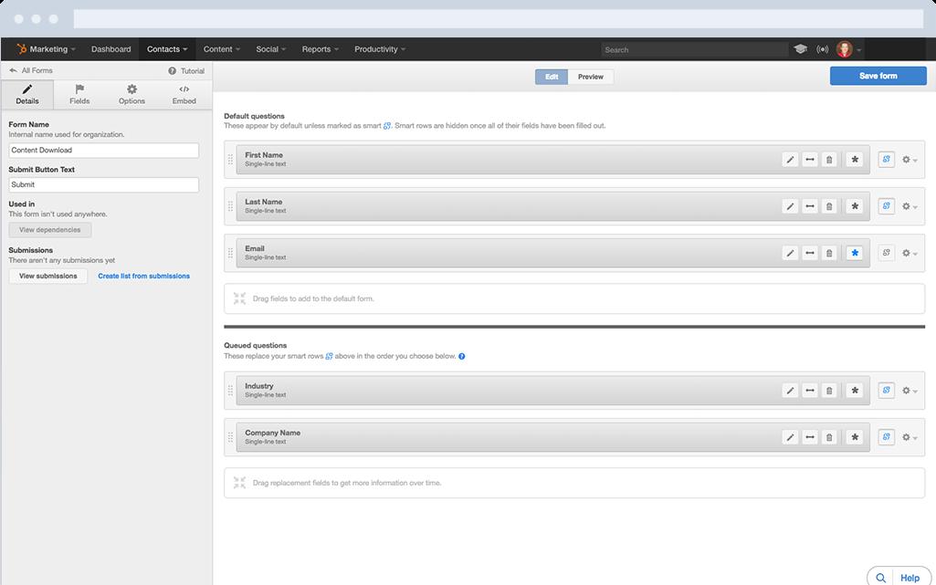 HubSpot Marketing-Software – Formulare