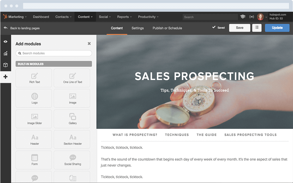 HubSpot Marketing-Software – Landing-Pages