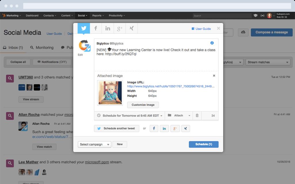 HubSpot Marketing-Software – Social-Media-Features