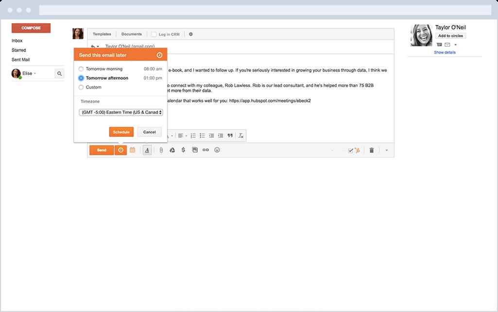 HubSpot Sales – E-Mail-Planung