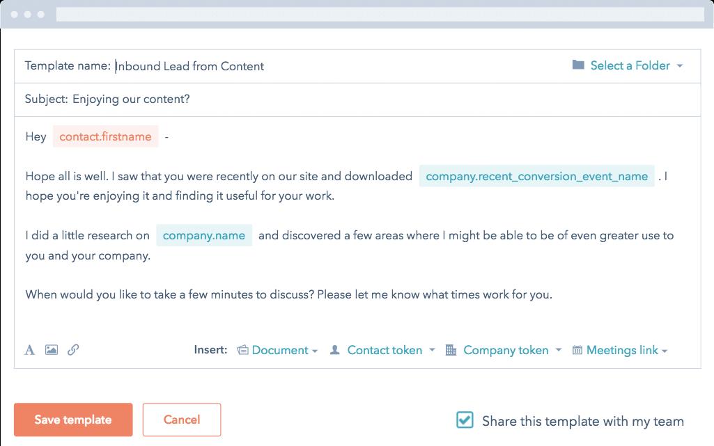 HubSpot Sales – E-Mail-Vorlagen