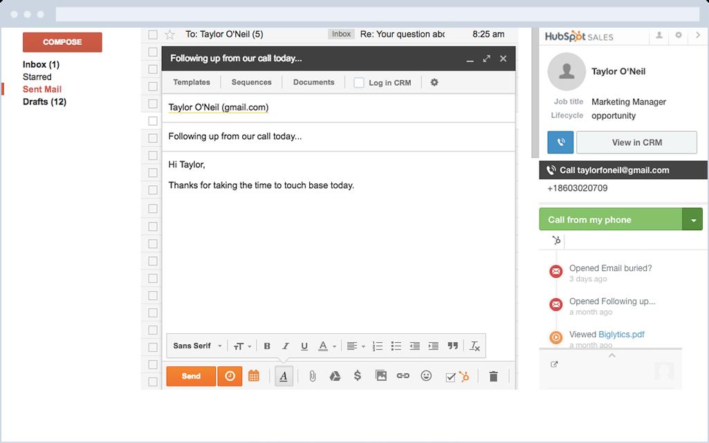 HubSpot Sales – Kontaktprofile im E-Mail-Postfach