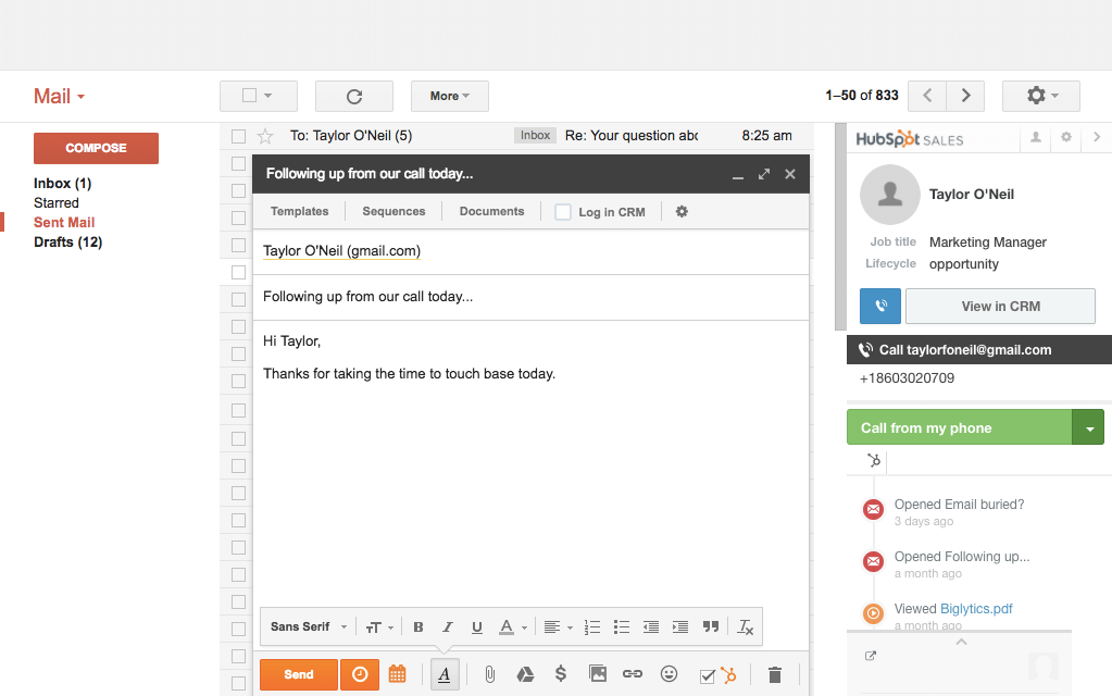HubSpot Sales – E-Mail-Tracking