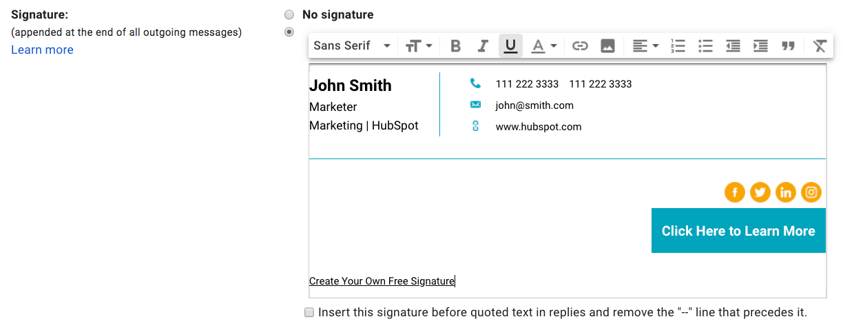 Email Signature in Gmail