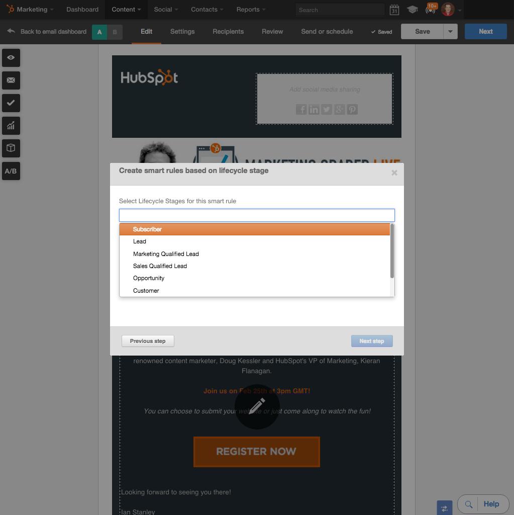 Personalisieren Sie Ihre E-Mails mit Smart Content von HubSpot
