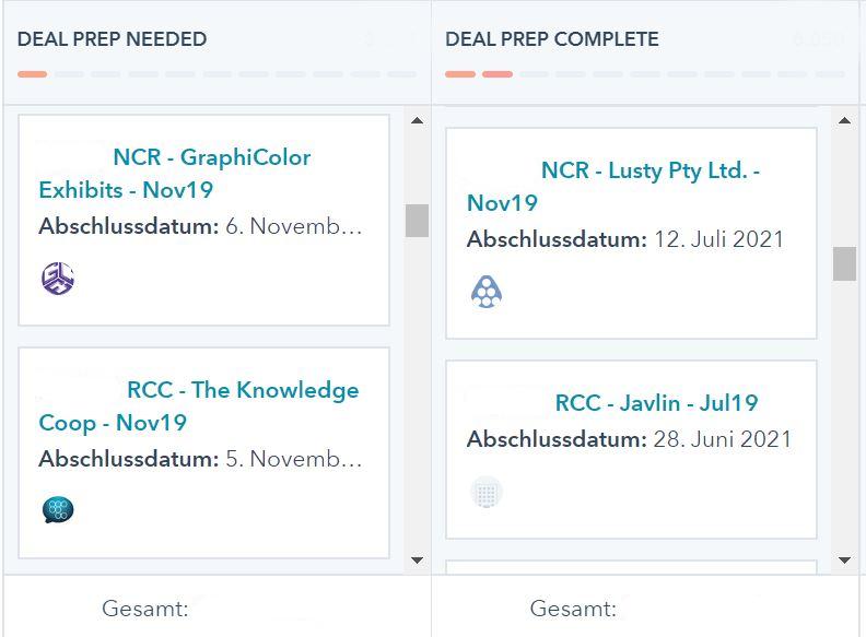 Deal Uebersicht in der CRM Software