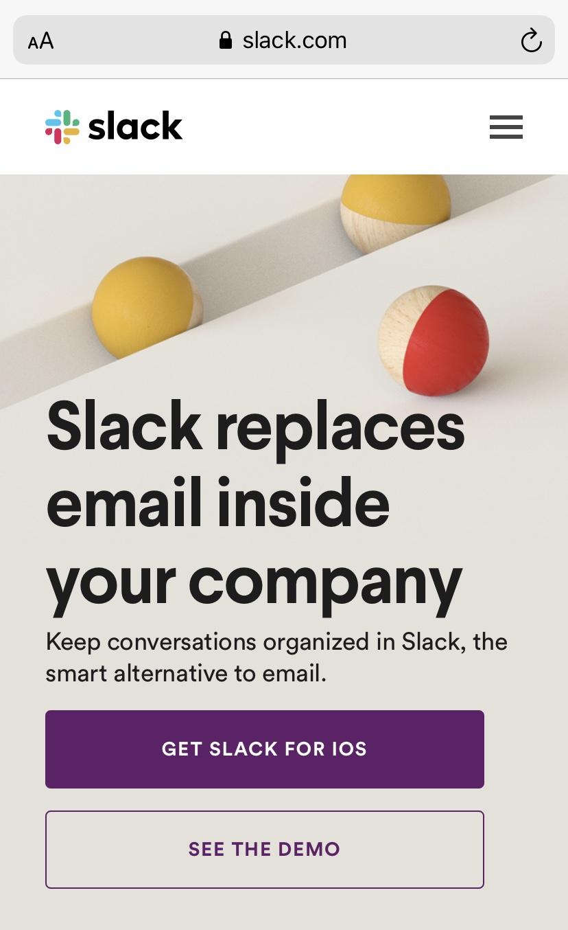 Mobile Website von Slack