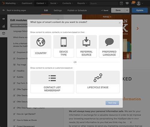 Smart Content für Landing-Pages von HubSpot