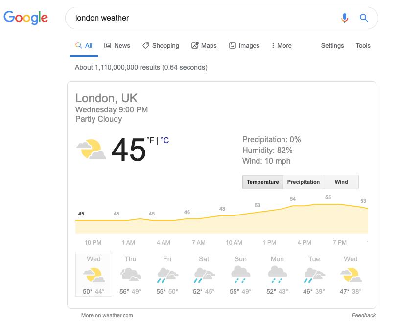 Screenshot mit Suchergebnissen für london weather