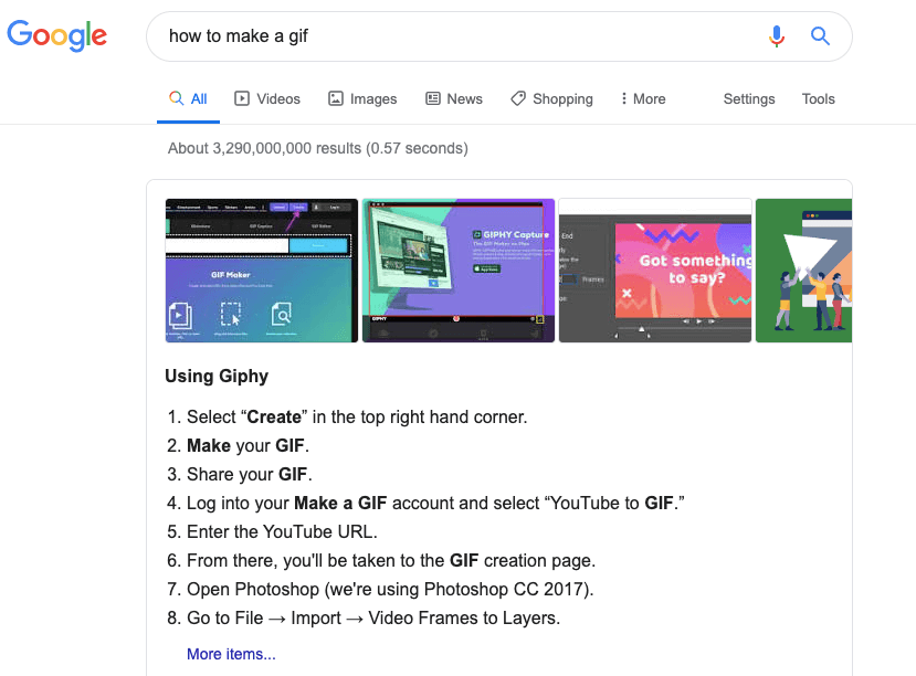 "Screenshot einer Google-Suche nach ""How to make a GIF"""