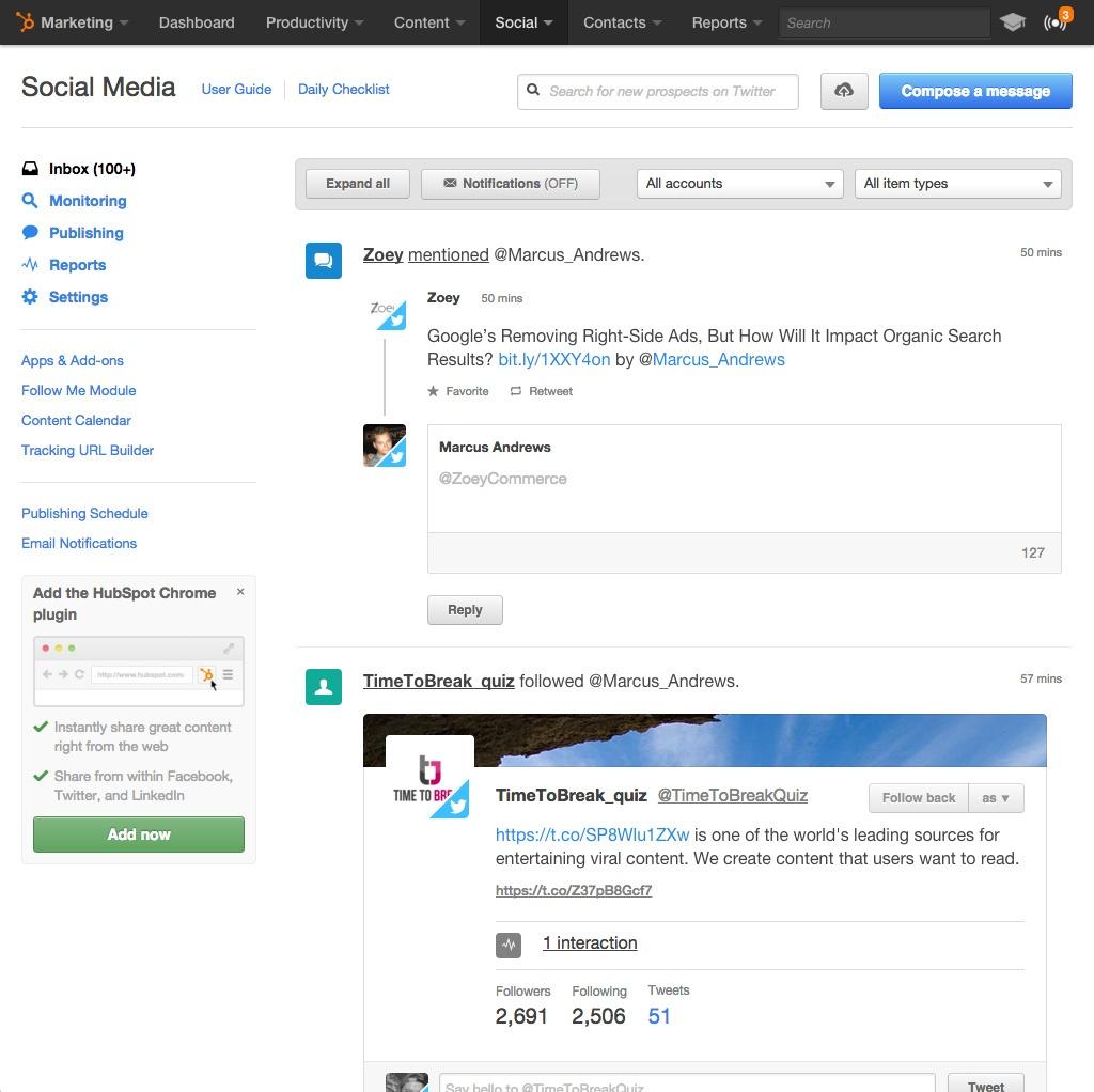 Die Social-Media-Tools von HubSpot