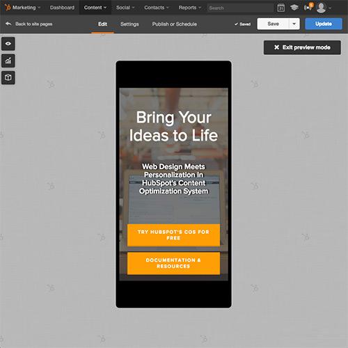 HubSpot Website-Plattform – automatische Optimierung Ihrer Website für Mobilgeräte