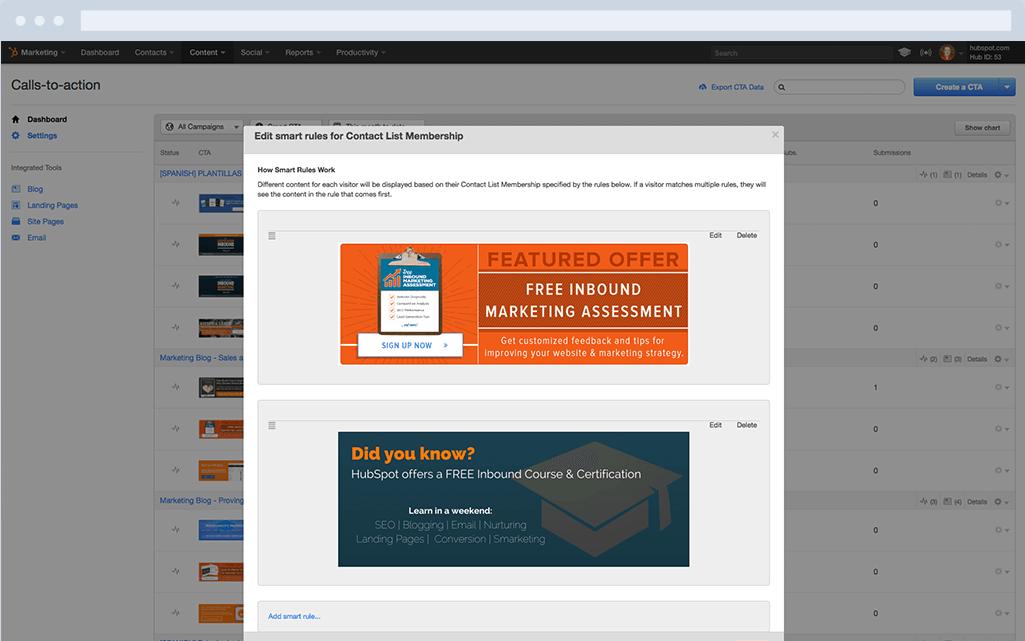 HubSpot Marketing-Software – Calls-to-Action – CTAs personalisieren