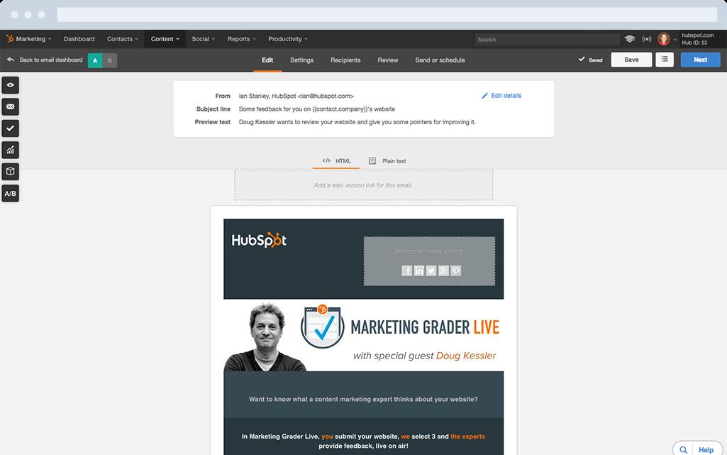 HubSpot Marketing-Software – E-Mail-Marketing – E-Mail erstellen