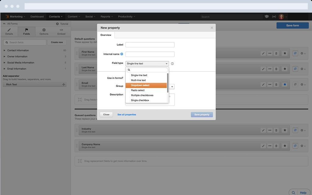 HubSpot Marketing-Software – Formulare – Einfach neue Formularfelder erstellen