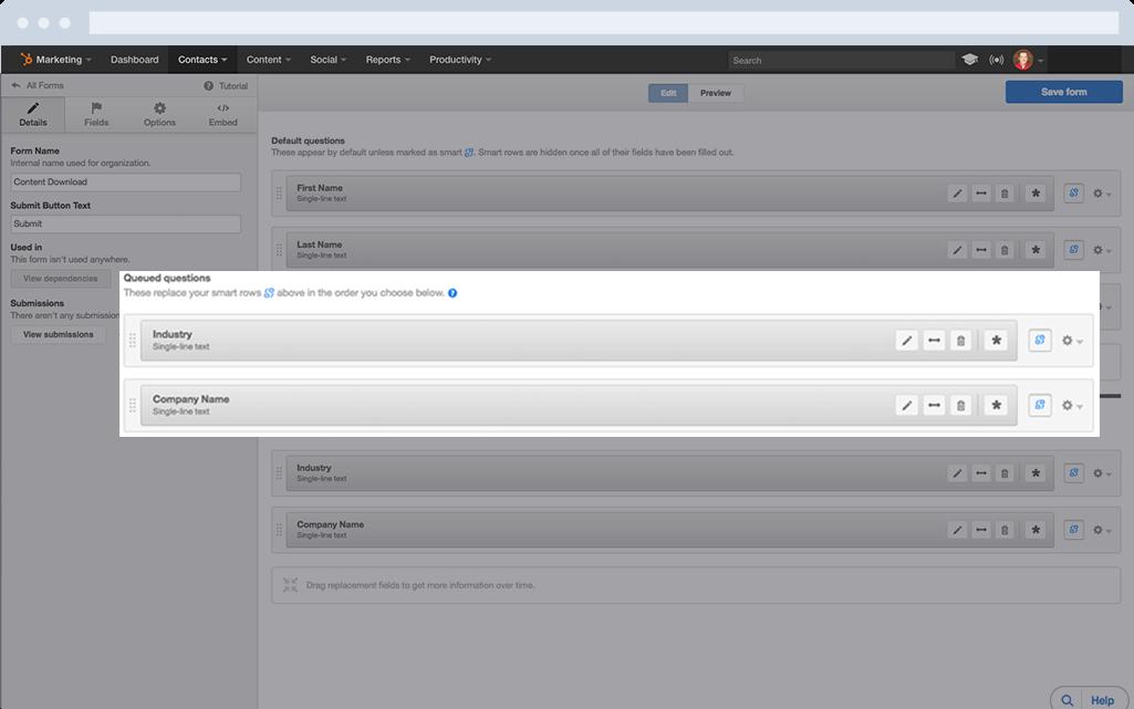 HubSpot Marketing-Software – Formulare – Fragen je nach Benutzer anpassen