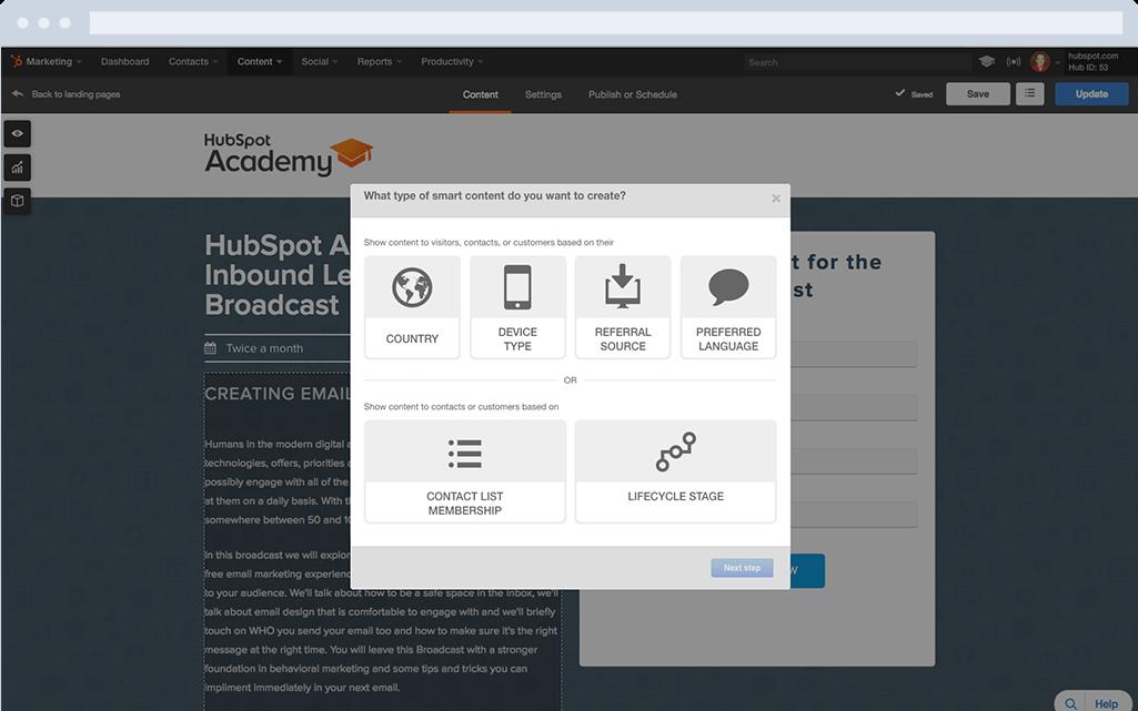 HubSpot Marketing-Software – Landing-Pages – Personalisierung
