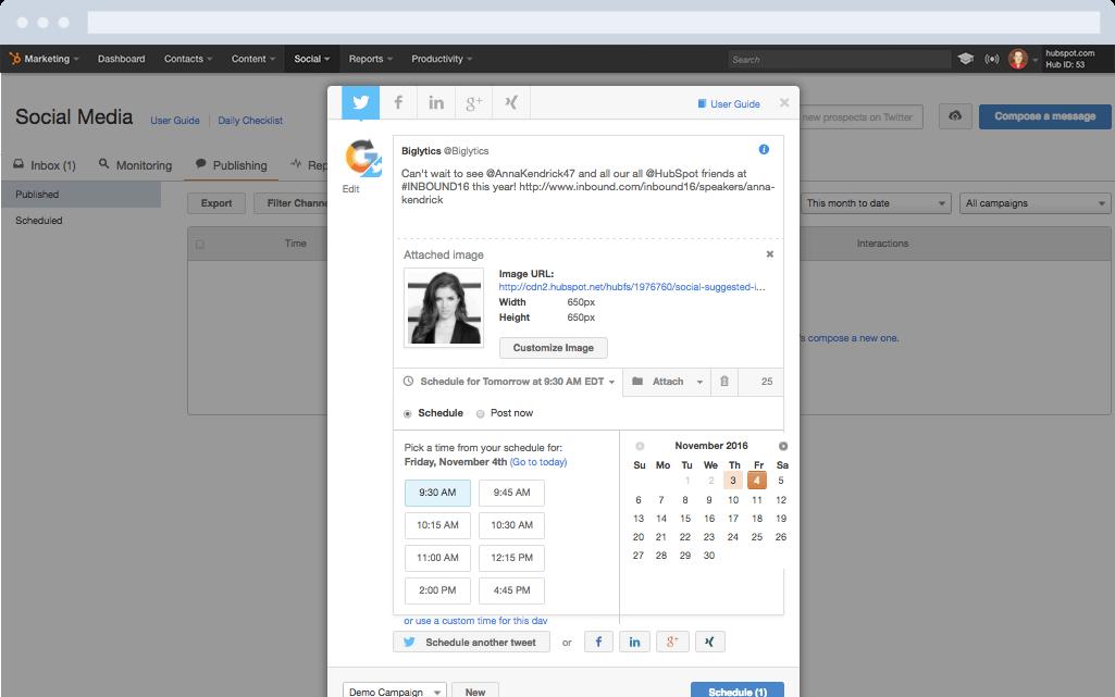 HubSpot Marketing-Software – Social-Media-Features – Beiträge veröffentlichen