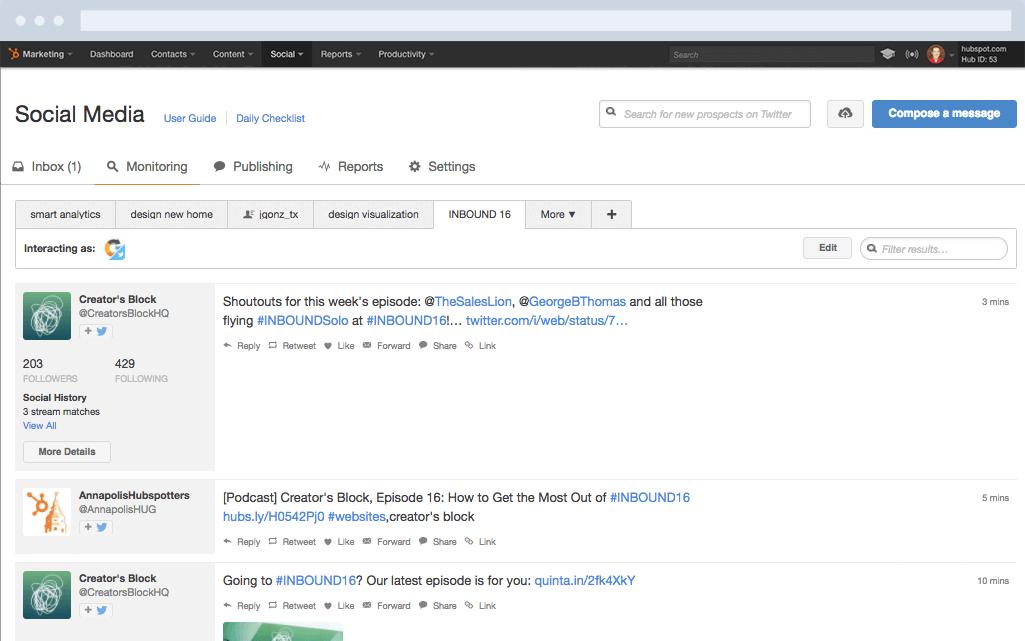 HubSpot Marketing-Software – Social-Media-Features – Social-Media-Monitoring