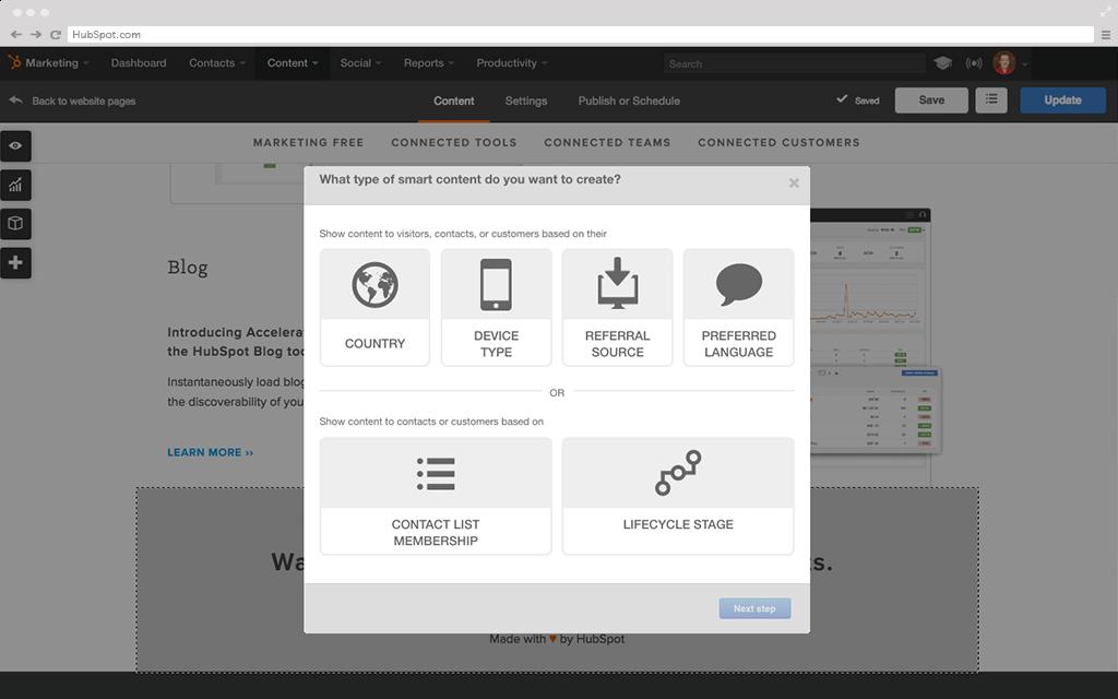 HubSpot Marketing-Software – Website-Plattform – Smart Content