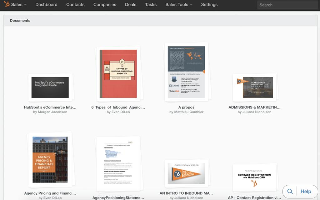 HubSpot Sales – Dokumente – Dokumentenbibliothek