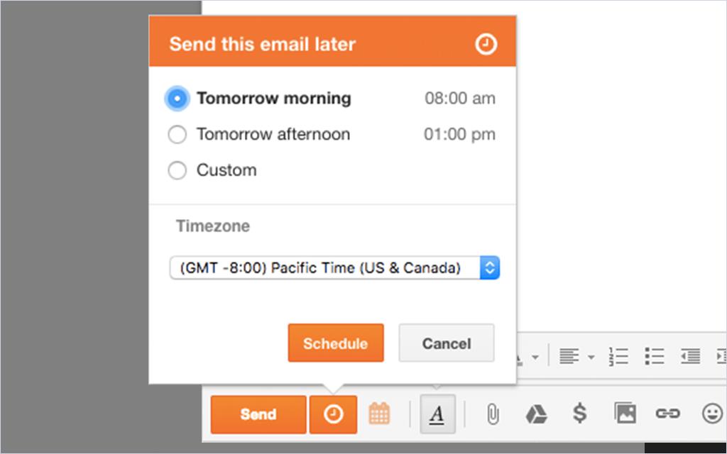 HubSpot Sales – E-Mail-Planung – Zeit für den Versand wählen