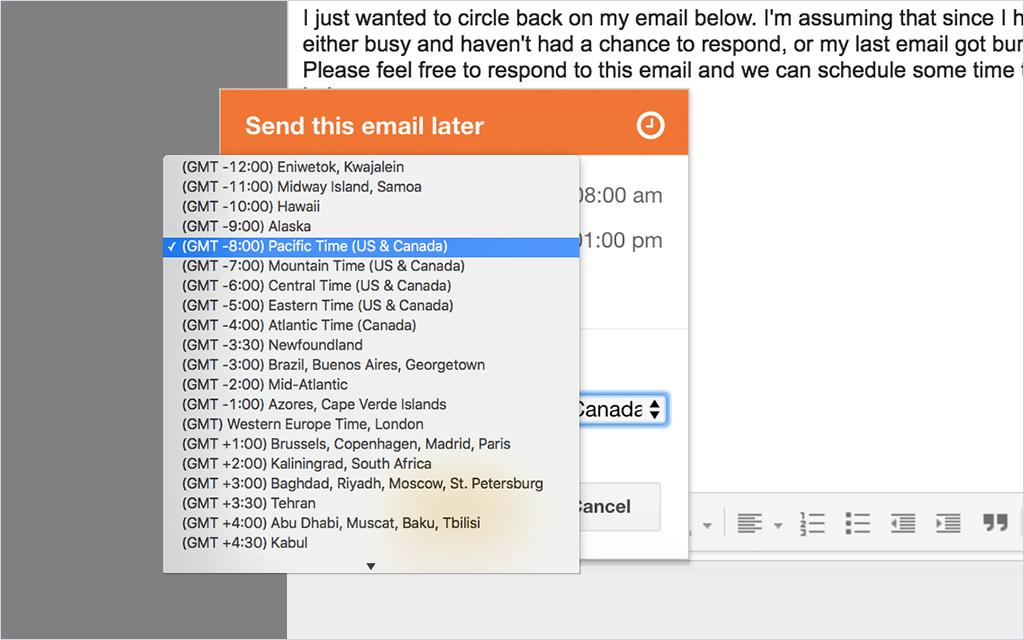 HubSpot Sales – E-Mail-Planung – Empfänger-Zeitzonen