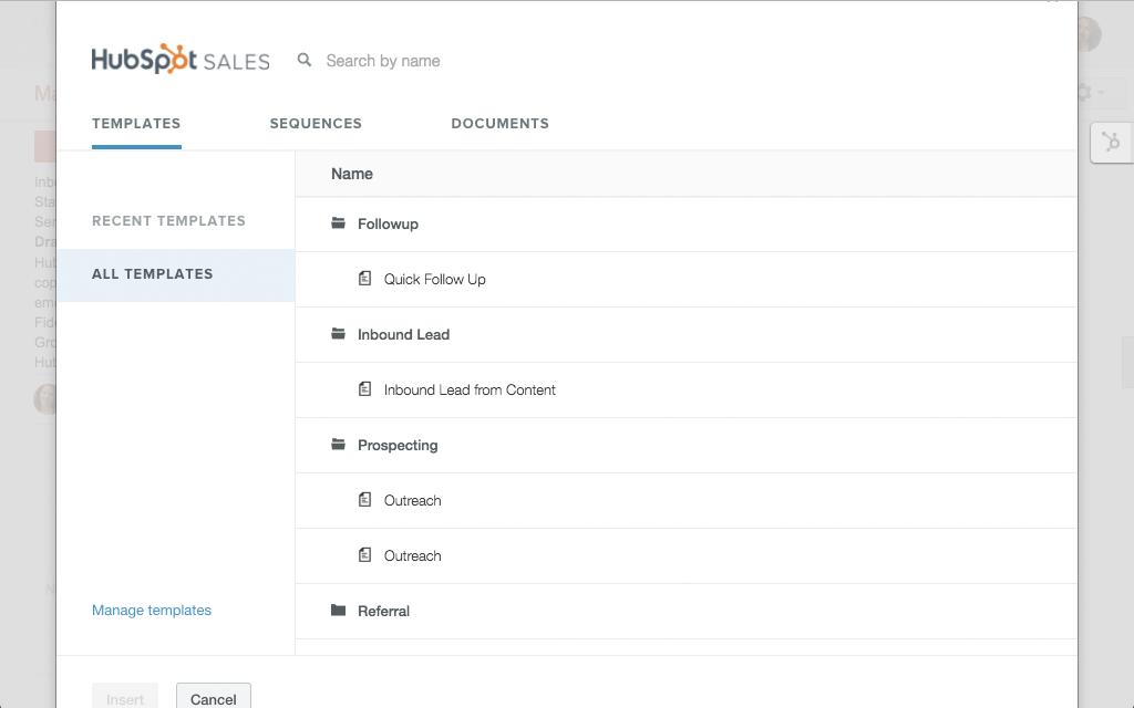 HubSpot Sales – E-Mail-Vorlagen – Vorlage auswählen