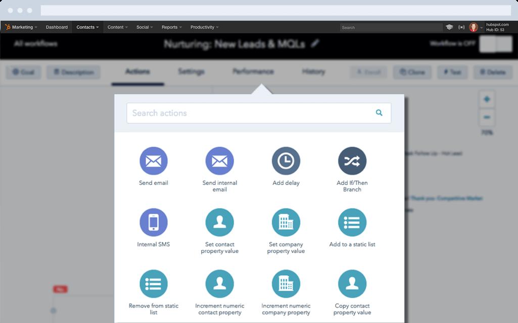 HubSpot Marketing-Software – Marketing-Automatisierung – Workflow-Schritte