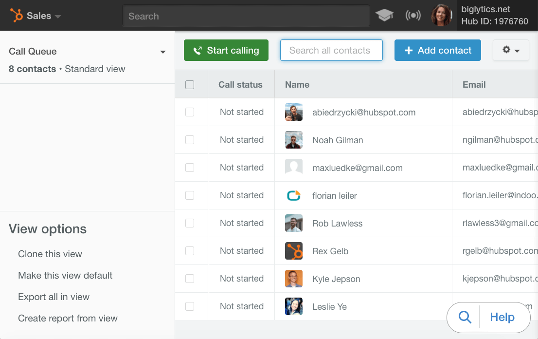 HubSpot Sales – Calling-Feature – Kontaktdaten