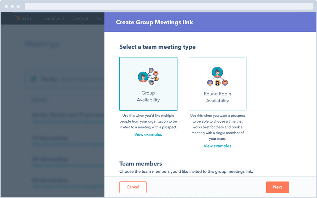 HubSpot Sales – Meetings – Meeting-Typ wählen