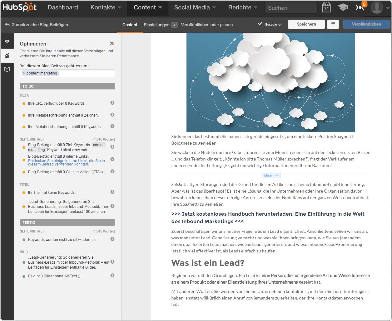 Die Blogging-Software von HubSpot