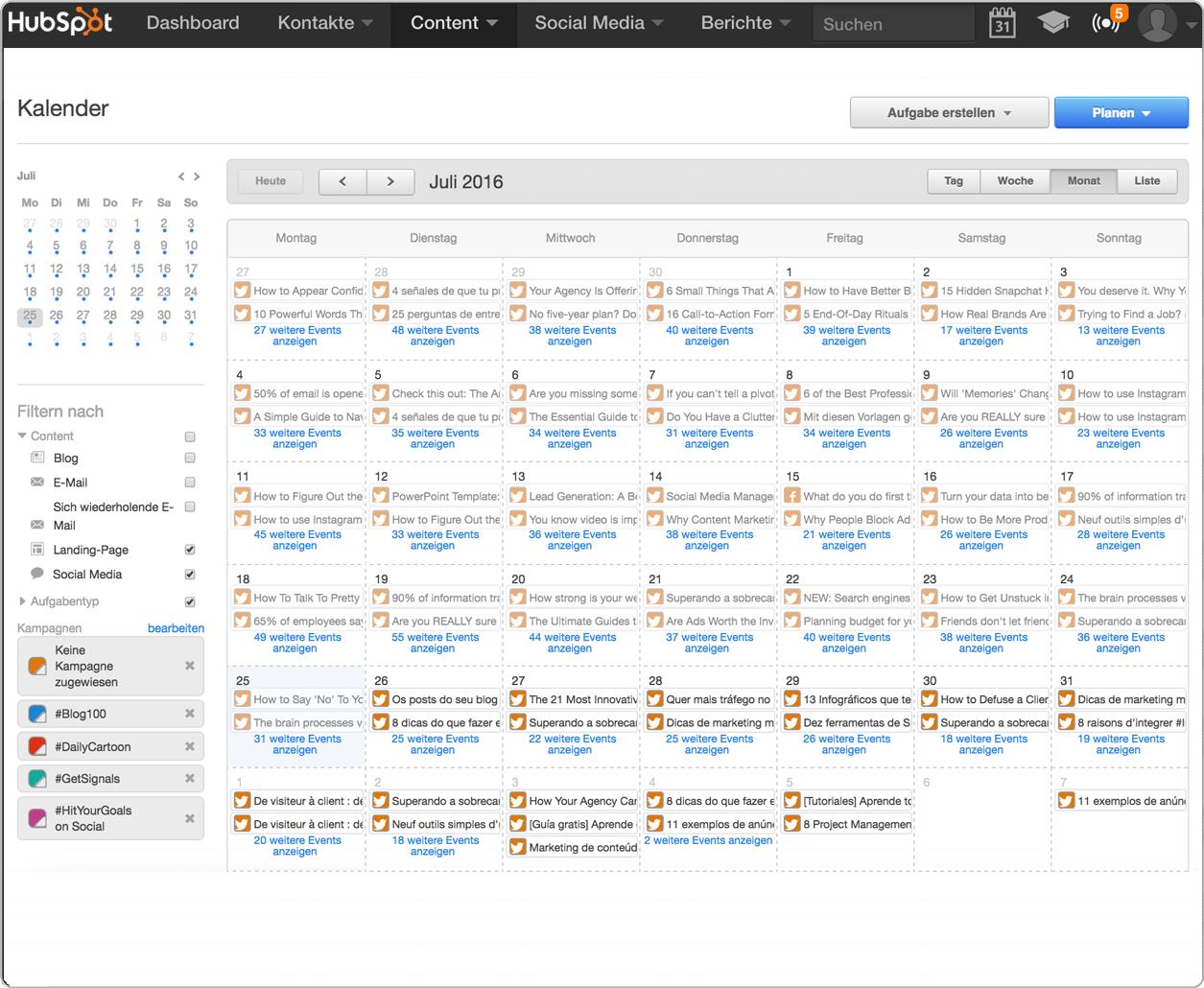 Planen Sie Ihre Blog-Inhalte mit dem HubSpot-Kalender